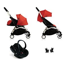 Achat Poussette combinée Poussette Trio YOYO+ Châssis Blanc Packs couleur 0+ et 6+ Rouge et iZi Go Modular Noir