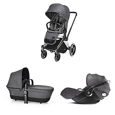 Achat Poussette combinée Poussette Trio Priam Trekking Chrome Priam et Cloud Q - Grey