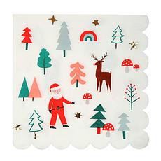 Achat Anniversaire & Fête Lot de 16 Grandes Serviettes de Table - Images de Noël