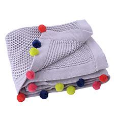 Achat Linge de lit Couverture Coton Grise Pompons Multicolores