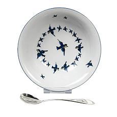 Achat Coffret repas Ensemble Bol en Porcelaine et Cuillère - Oiseaux