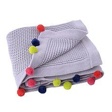 Achat Linge de lit Couverture en Coton - Grise Pompons Multicolores