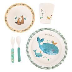 Achat Coffret repas Set Vaisselle 5 Pièces Bambou - Le Voyage d'Olga