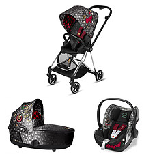 Achat Poussette combinée Poussette Trio Mios Chrome Nacelle Luxe et Siège Auto Cloud Q Fashion Collection - Rebellious Multicolor