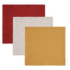 Achat Gant de toilette Lot de 3 Débarbouillettes Pure - Indian Red, Grey & Ochre