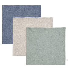 Achat Gant de toilette Lot de 3 Débarbouillettes Pure - Blue, Grey & Mint