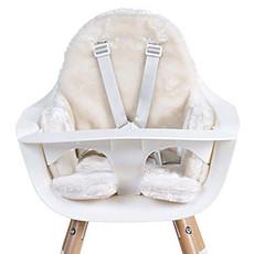Achat Chaise haute Coussin de Chaise Haute en Fourrure - Blanc Cassé