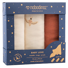 Achat Lange Lot de 3 Langes Baby Love - Toffee