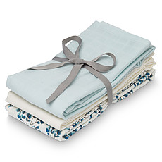 Achat Lange Lot de 3 Langes - Fiori Light Blue White Cream
