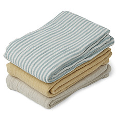 Achat Lange Lot de 3 Langes Line - Sea Blue Stripes