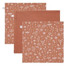 Achat Gant de toilette Lot de 3 Débarbouillettes Wild Flowers & Pure - Rust