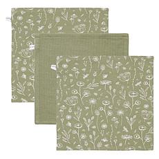 Achat Gant de toilette Lot de 3 Débarbouillettes Wild Flowers & Pure - Olive