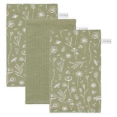 Achat Gant de toilette Lot de 3 Gants de Toilette Wild Flowers - Olive