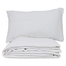 Achat Linge de lit Parure en Coton Bio Froissé Blanc - 100 x 140 cm