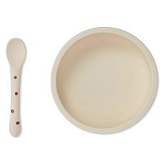 Achat Coffret repas Set Repas en Silicone Antidérapant 2 Pièces - Raspberry & Red Dot