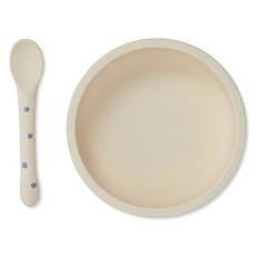 Achat Coffret repas Set Repas en Silicone Antidérapant 2 Pièces - Ocean & Blue Dot