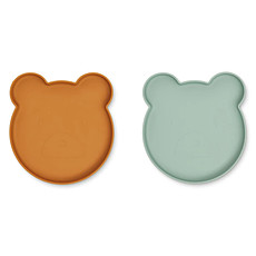 Achat Vaisselle & Couvert Lot de 2 Assiettes Olivia Marty - Mr Bear Mustard Peppermint Mix