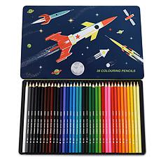 Achat Livre & Carte Boîte de 36 Crayons de Couleurs Space Age
