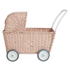 Achat Mes premiers jouets Landau Chariot Strolley en Rotin - Rose