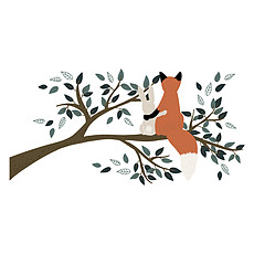 Achat Sticker Sticker Géant M. Fox - Renard sur une Branche