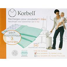 Achat Couche 3 Recharges pour Poubelles à couches Korbell 15 L
