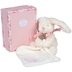 Achat Doudou Pantin avec Doudou Lapin Bonbon Rose 18 cm