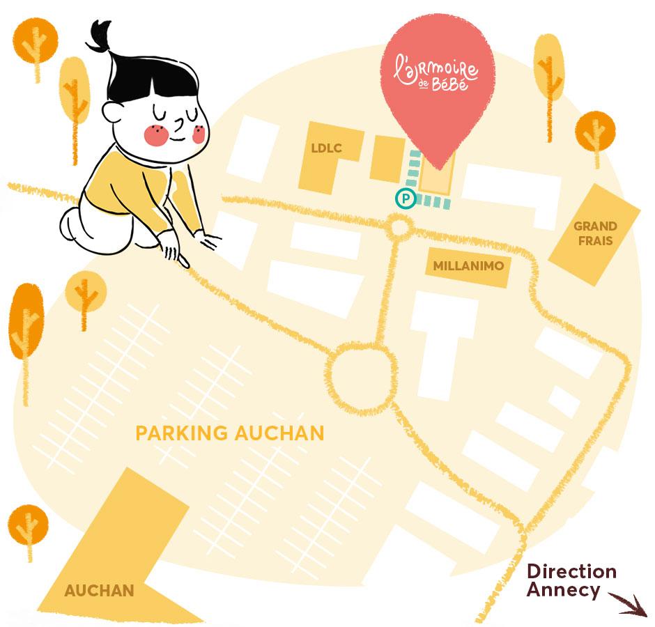 Plan d'accès à la boutique de Épagny