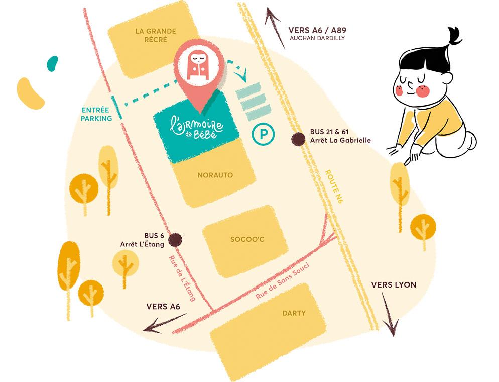Plan d'accès à la boutique de Limonest