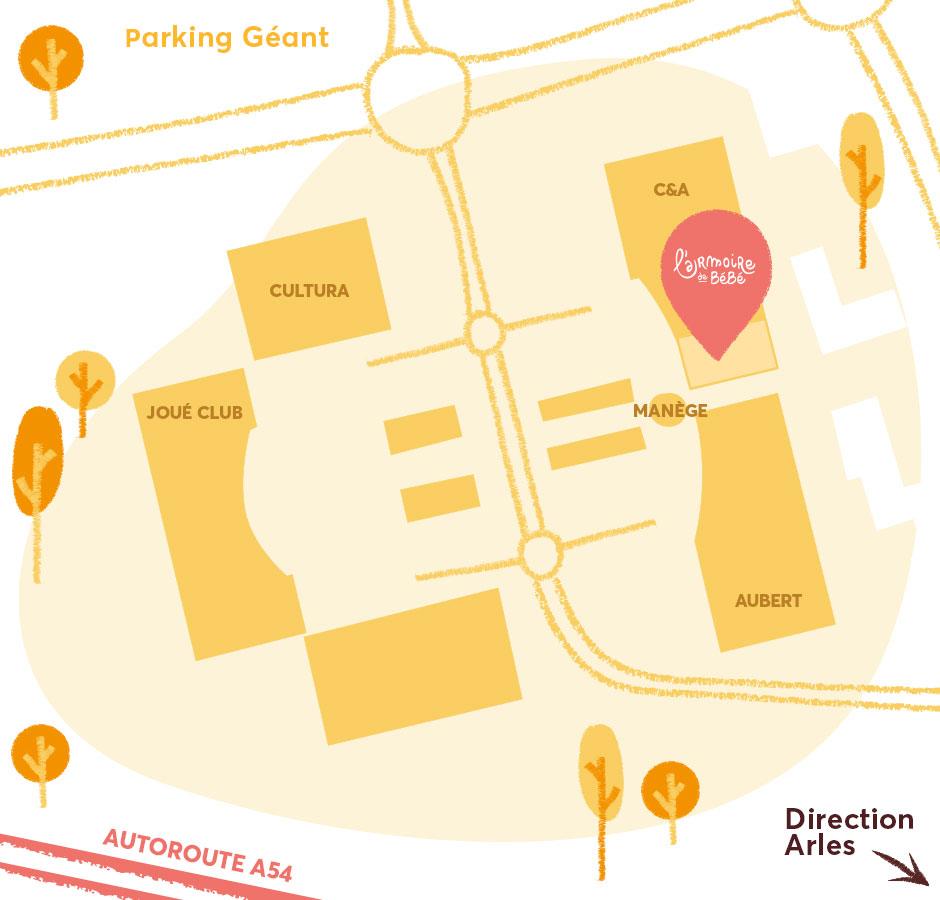 Plan d'accès à la boutique de Nîmes