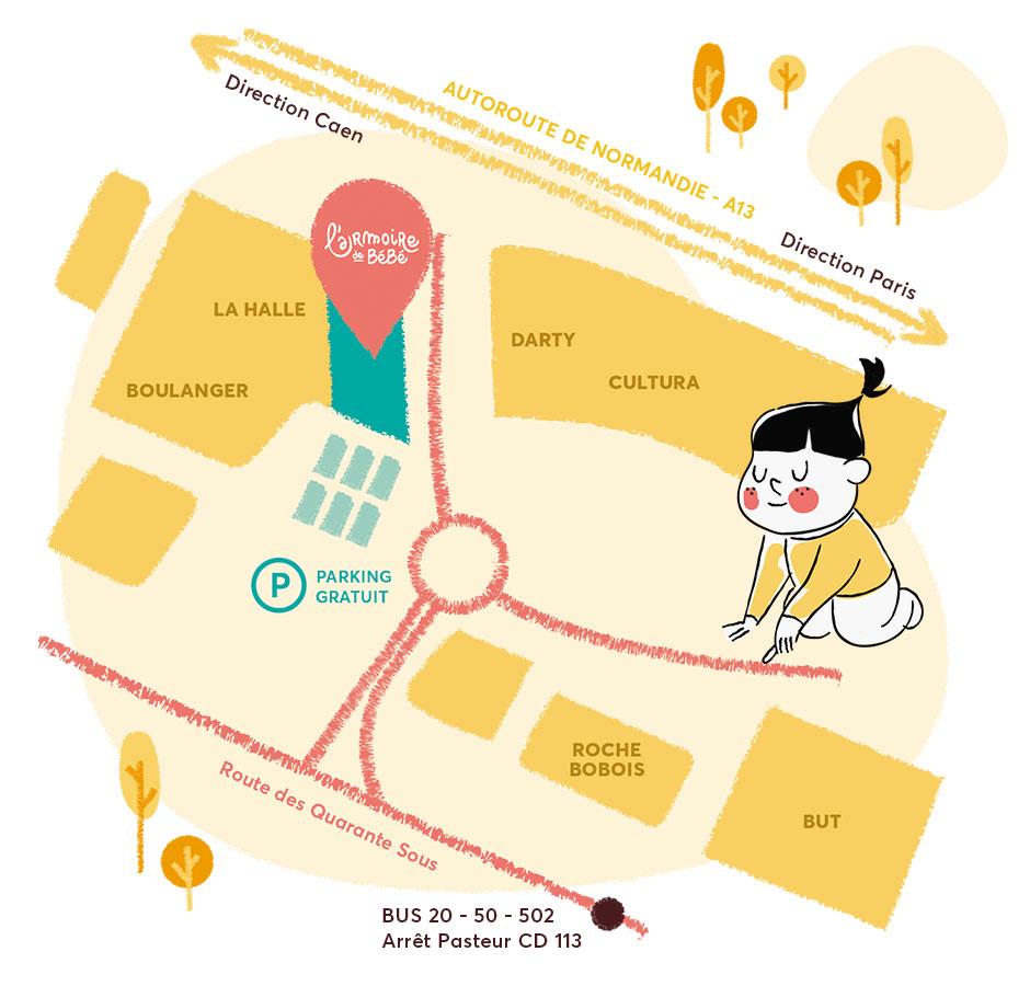 Plan d'accès à la boutique de Orgeval